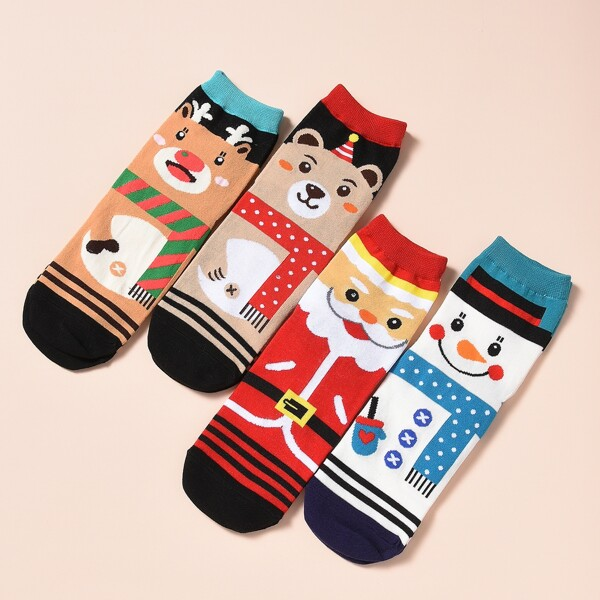 4pairs Christmas Cartoon Graphic Socks, Multicolor