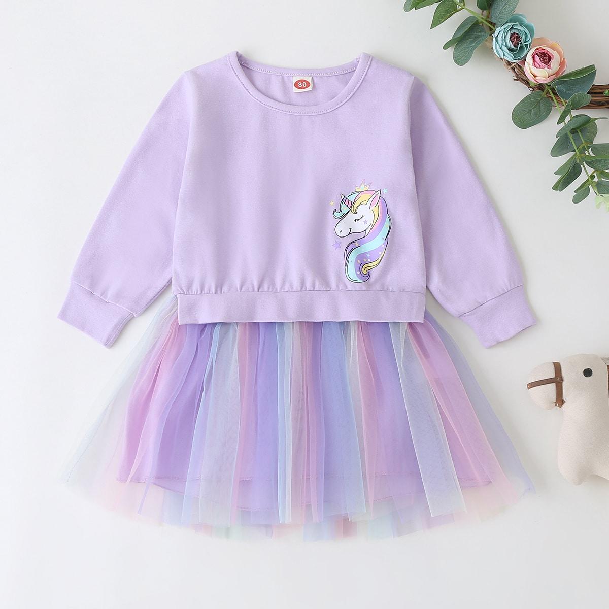Платье-свитшот с принтом единорога и сетчатым низом для девочек SheIn skdress03200723679