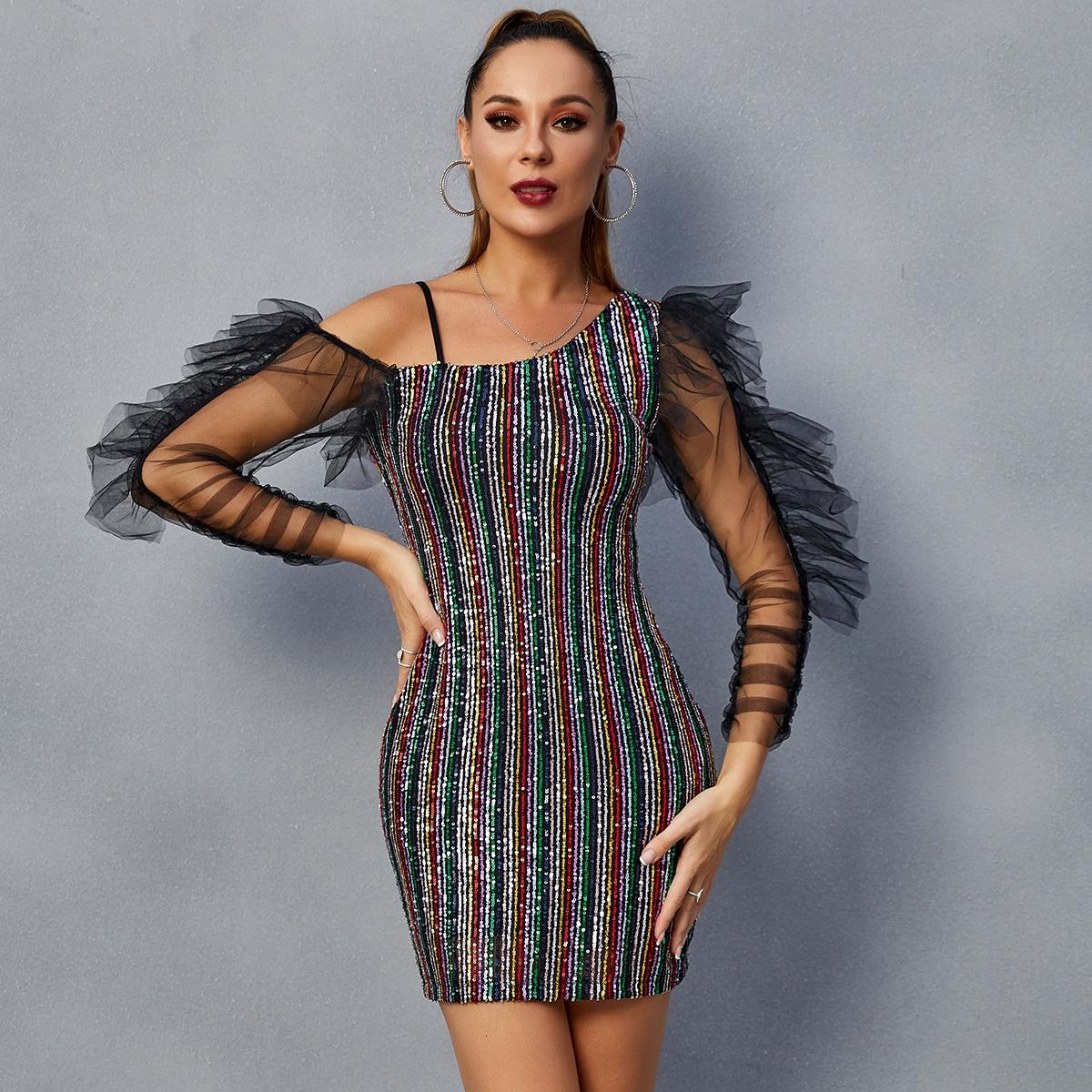 DKRX Асимметричное облегающее платье в полоску с блестками