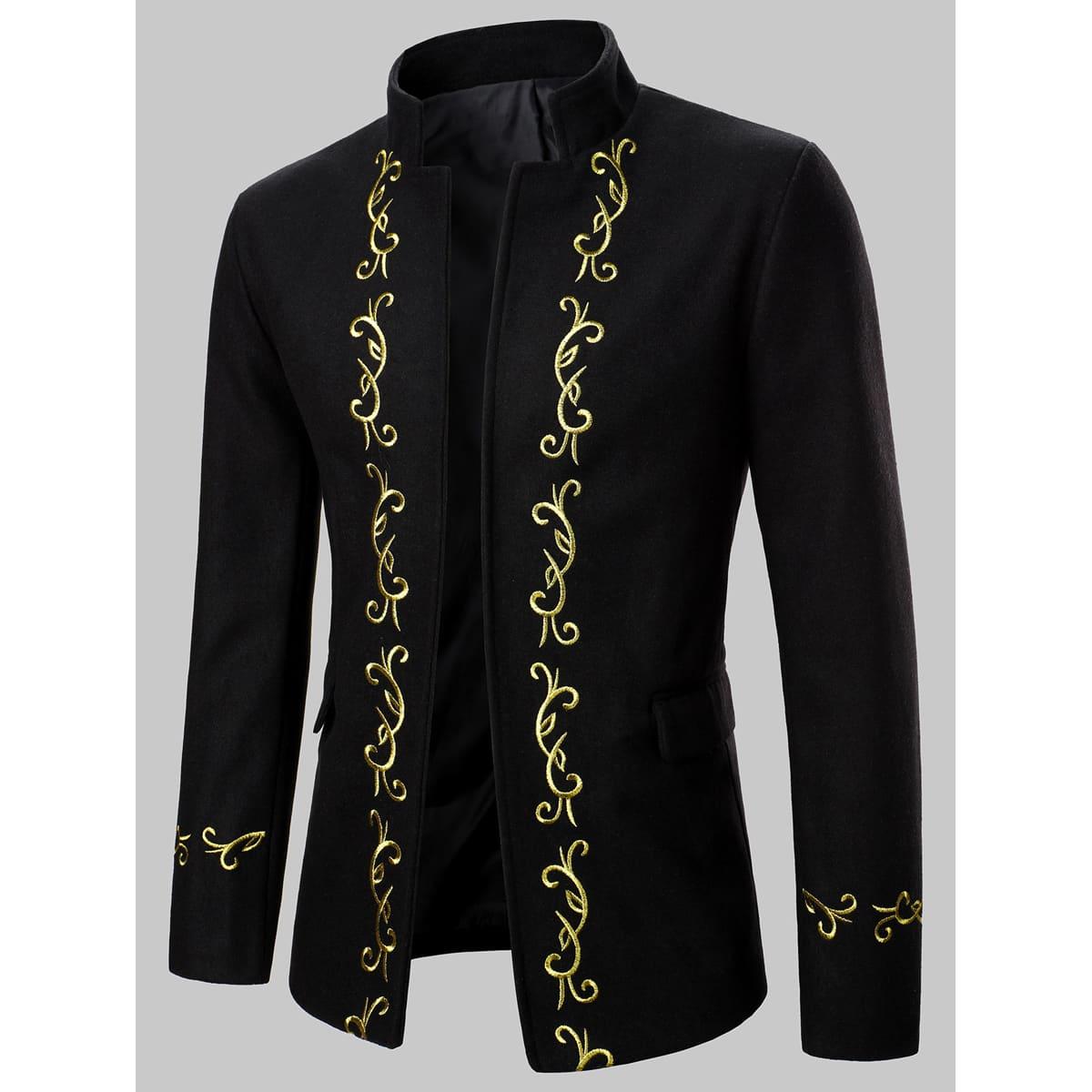 Мужской пиджак с карманом и вышивкой