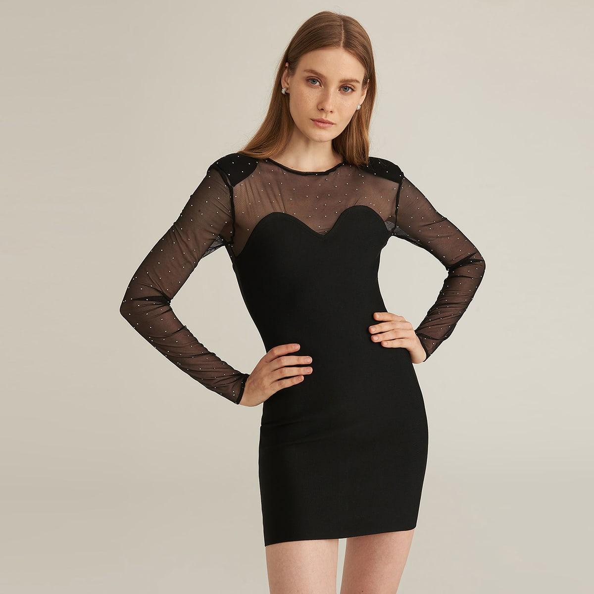 Облегающее платье с сетчатой отделкой