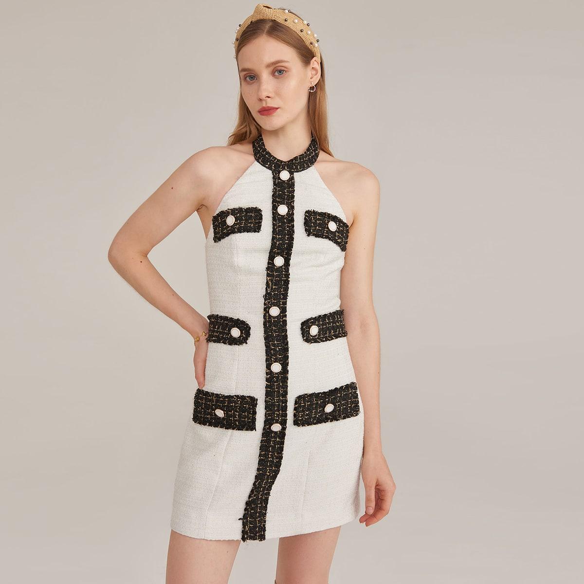 Твидовое платье с открытой спиной