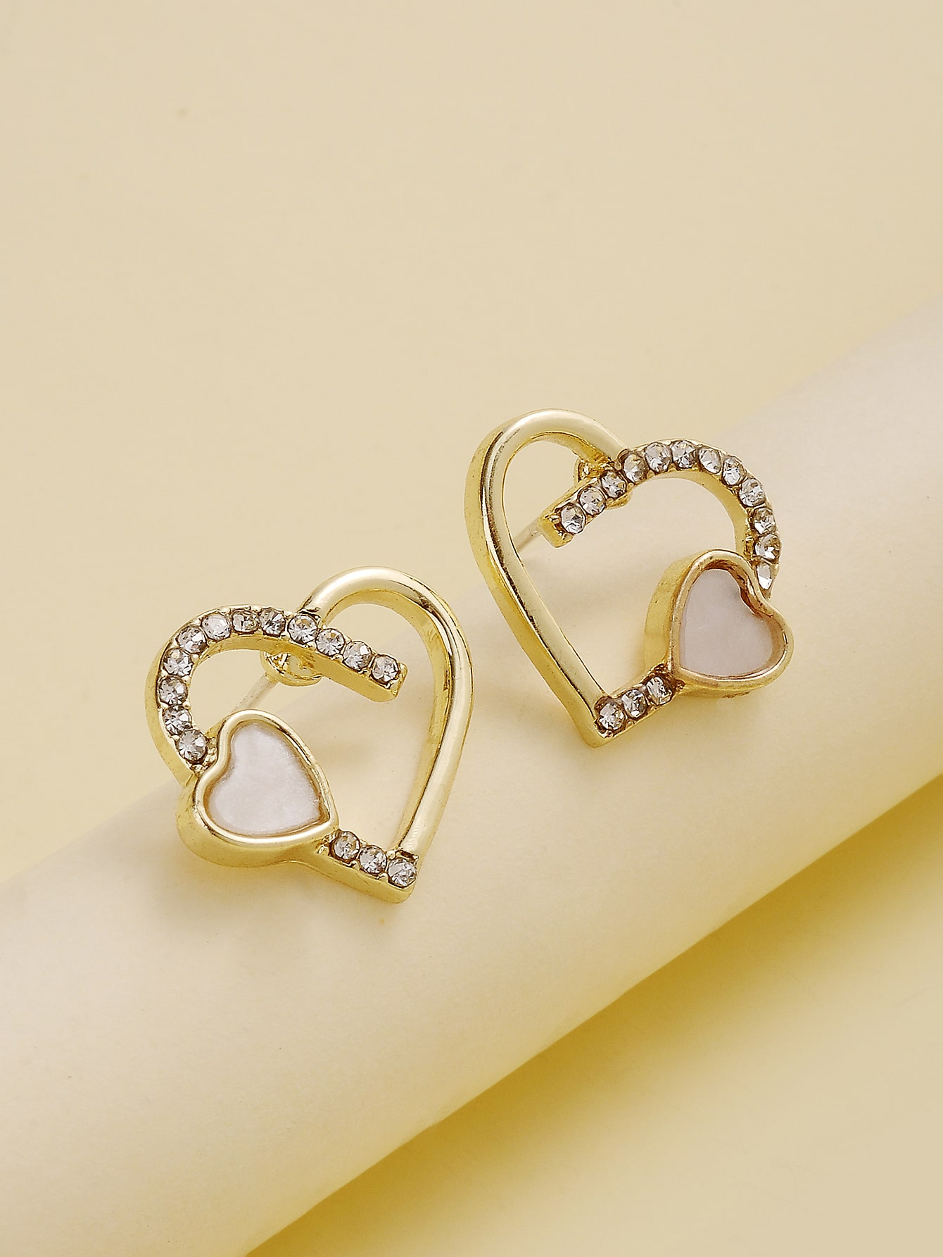 Rhinestone Decor Heart Stud Earrings thumbnail