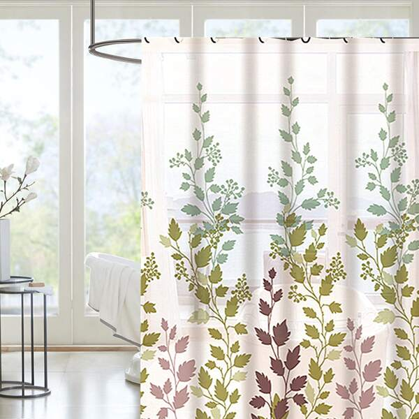 Leaf Print Shower Curtain With 12hooks, Multicolor