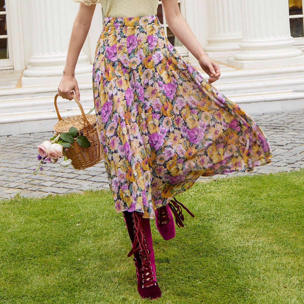 Цветочный принт плиссированные шифон юбка