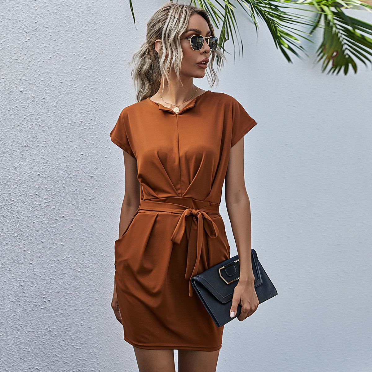 Solid Self Tie Fitted Dress, SHEIN  - buy with discount