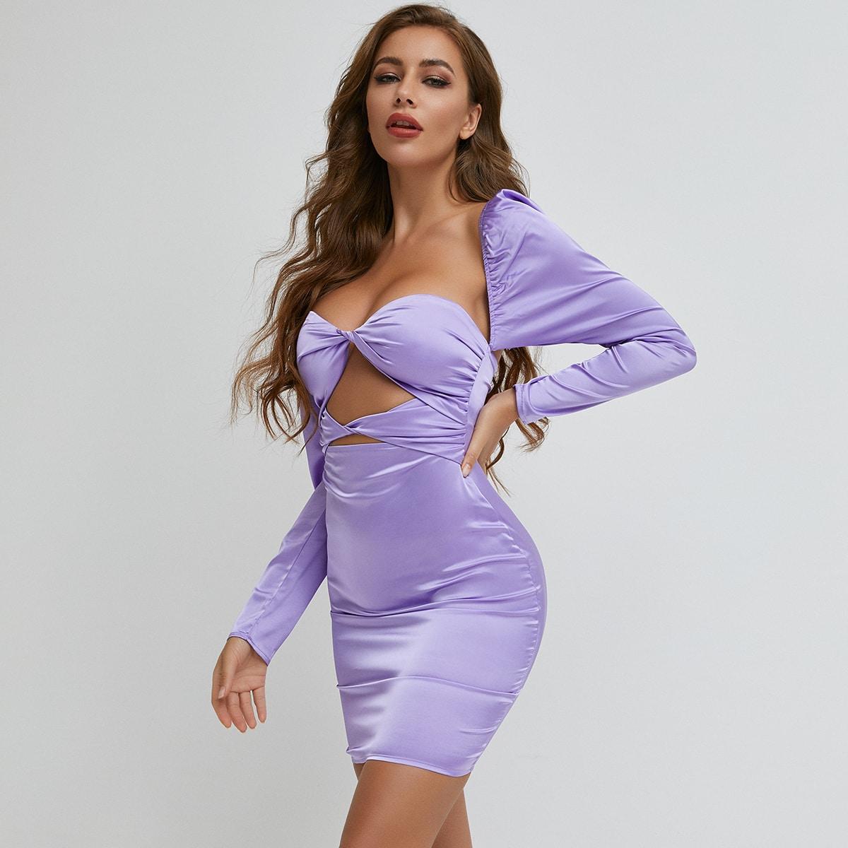 Атласное платье с драпировкой