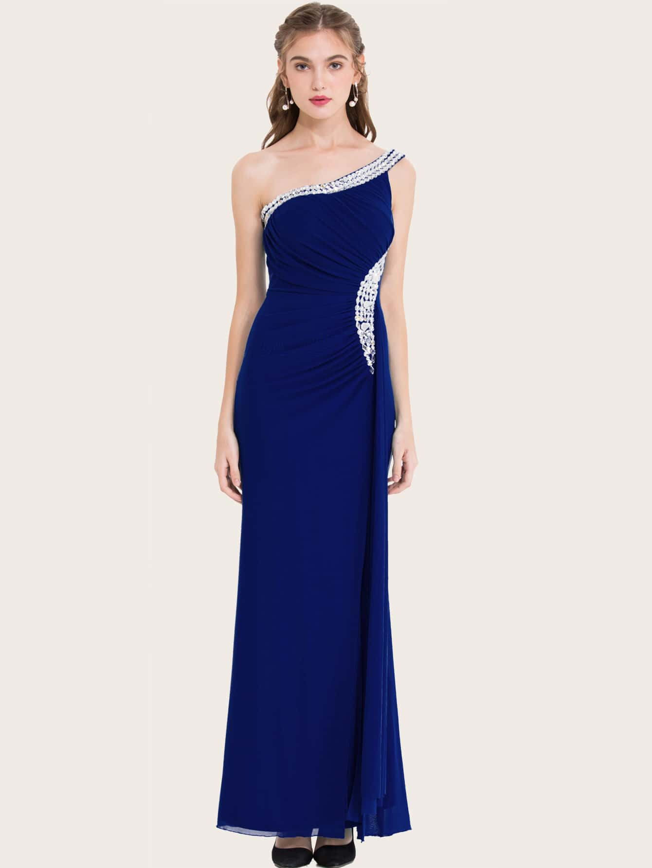 One Shoulder Draped Rhinestone Prom Dress thumbnail
