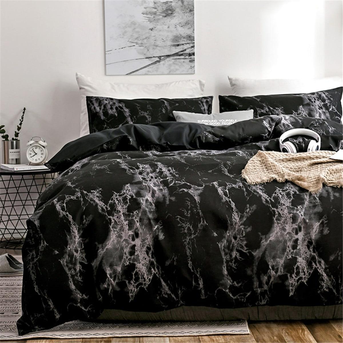 Комплект постельного белья с мраморным принтом без наполнителя