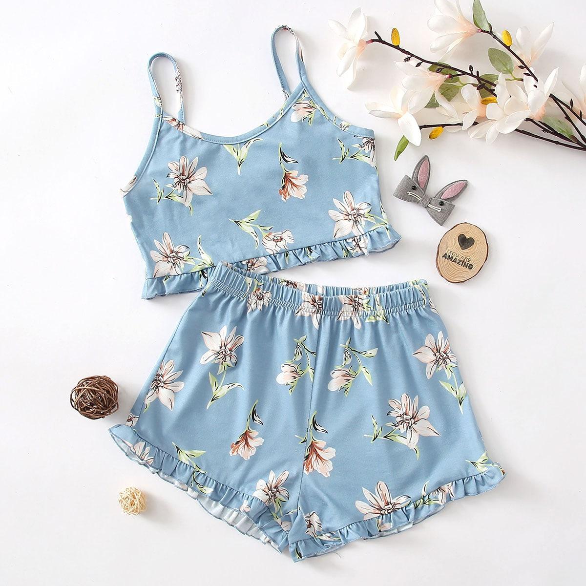 Пыльно-синий Оборка Цветочный принт Повседневный Домашняя одежда для девочек