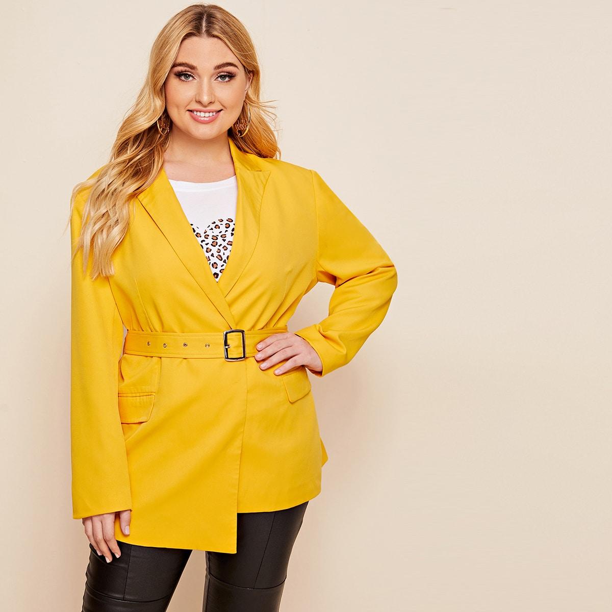 Асимметричный пиджак размера плюс с поясом