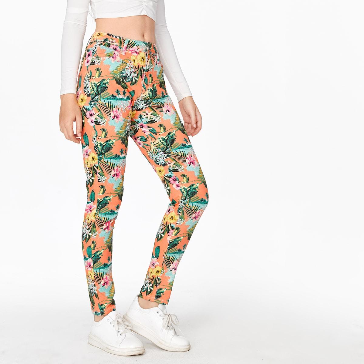 Облегающие джинсы принтом цветка и птицы