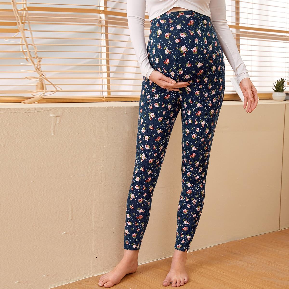 Леггинсы для беременных с цветочным принтом