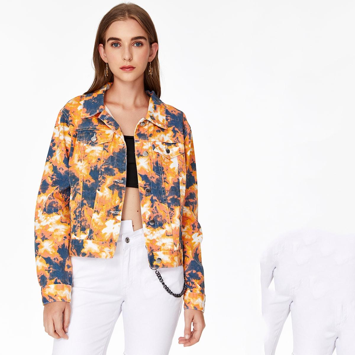 Разноцветная джинсовая куртка с пуговицами