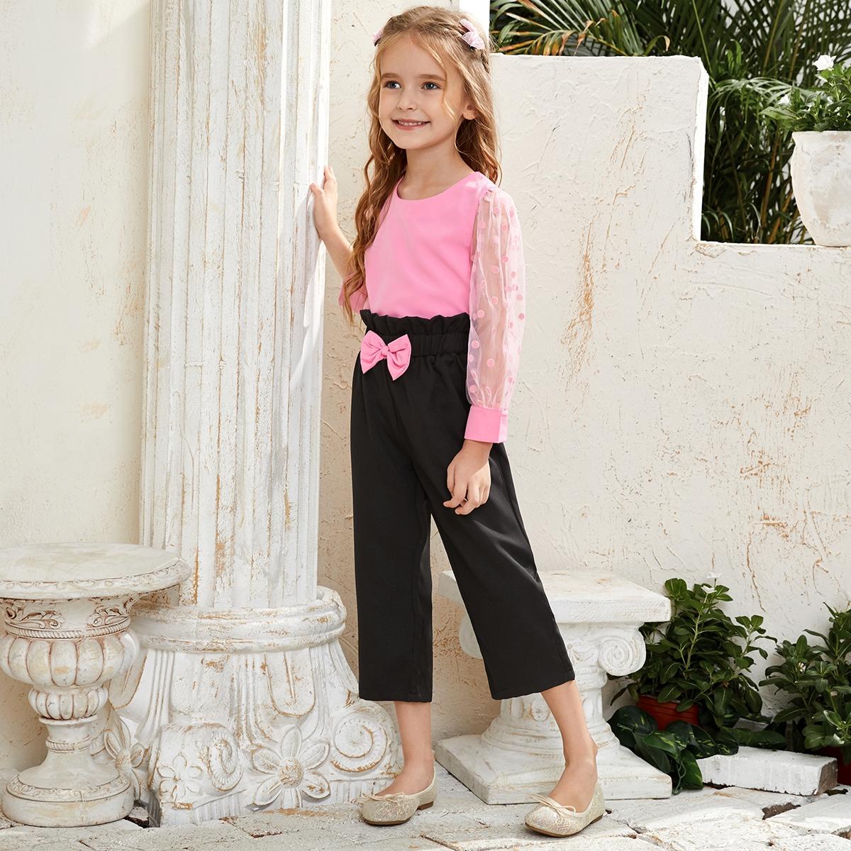 Блузка в горошек и брюки с бантом для девочек