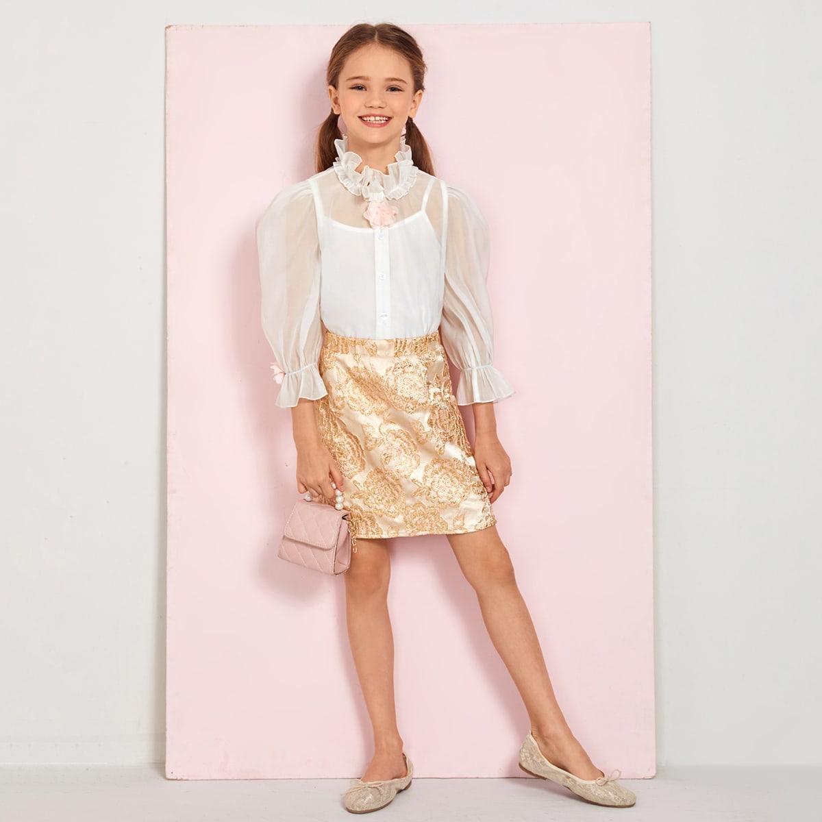 Жаккардовая юбка и блуза из органзы с аппликацией 3d и майкой для девочек