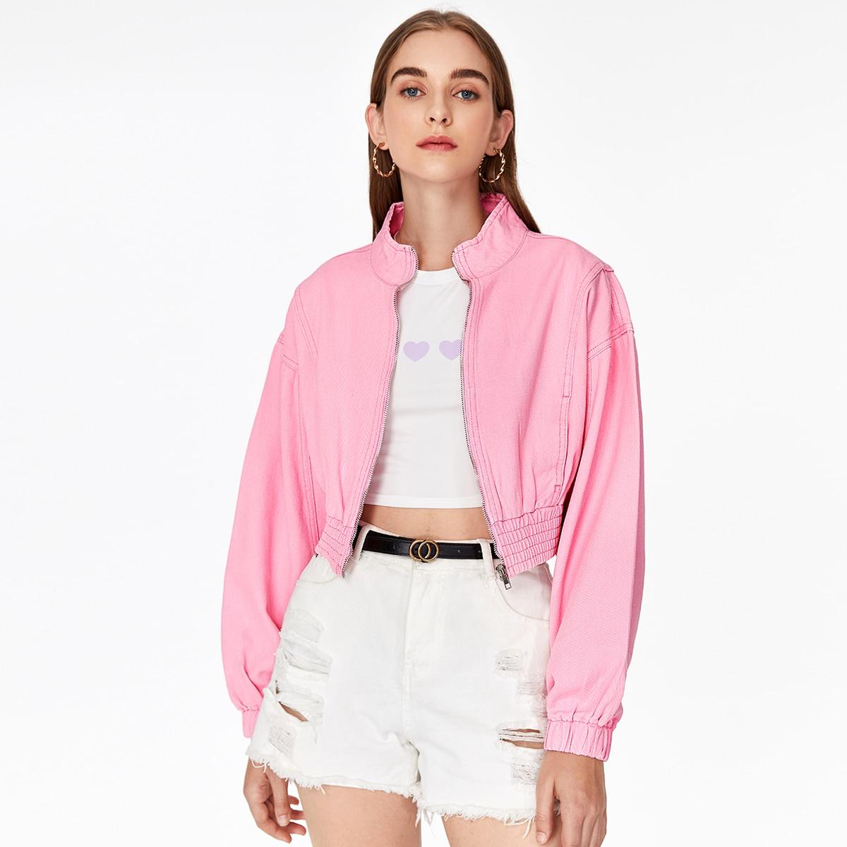 Джинсовая куртка с молнией