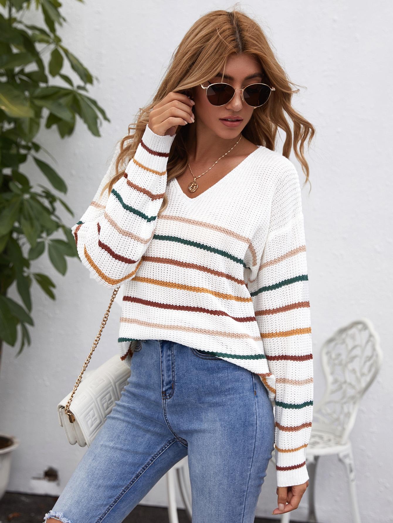Drop Shoulder Striped Sweater thumbnail