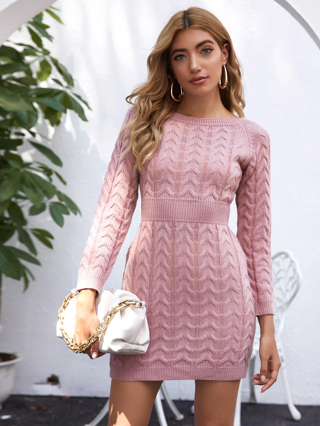 Raglan Sleeve Cable Knit Sweater Dress thumbnail