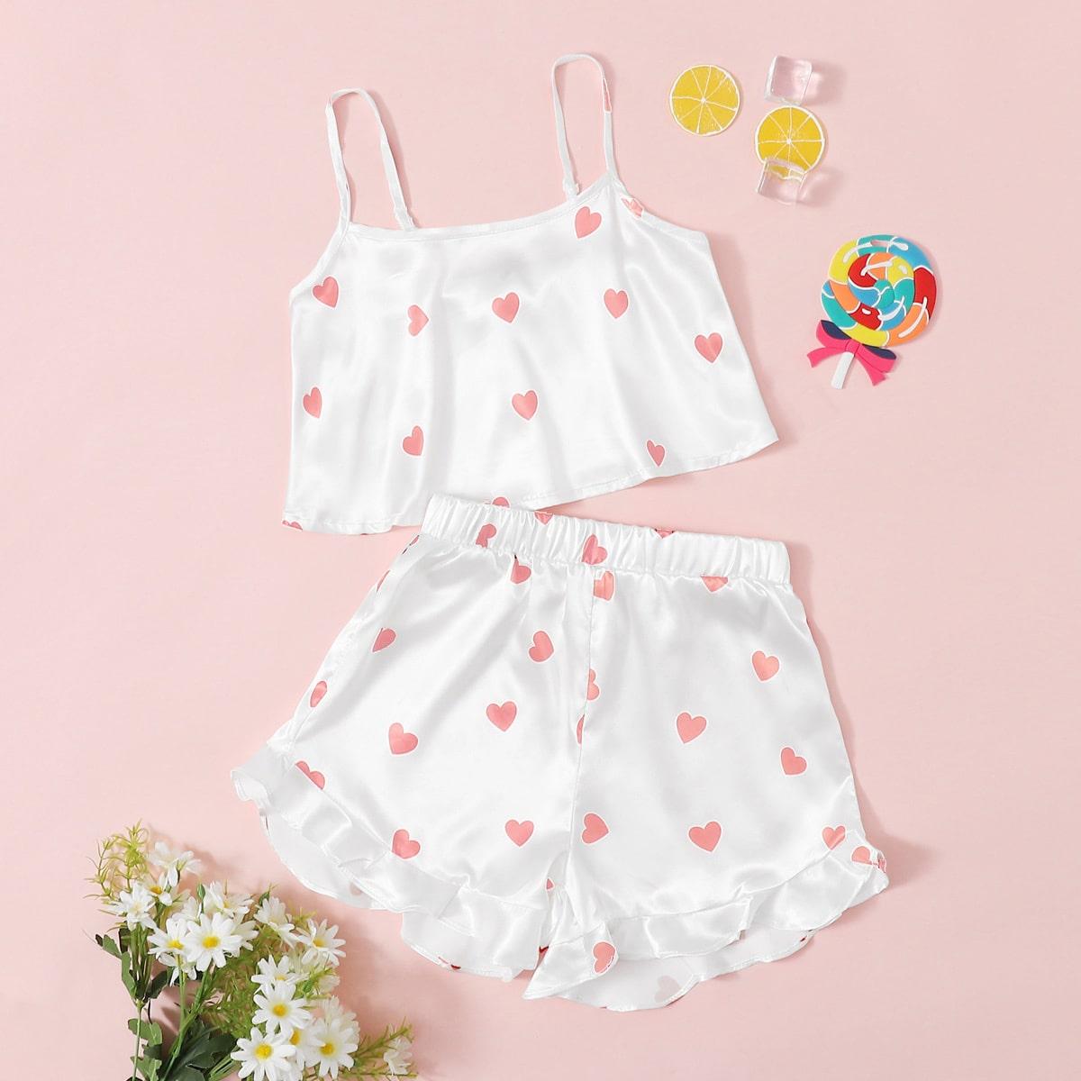 Белый Низ-оборка Сердечко милый Домашняя одежда для девочек