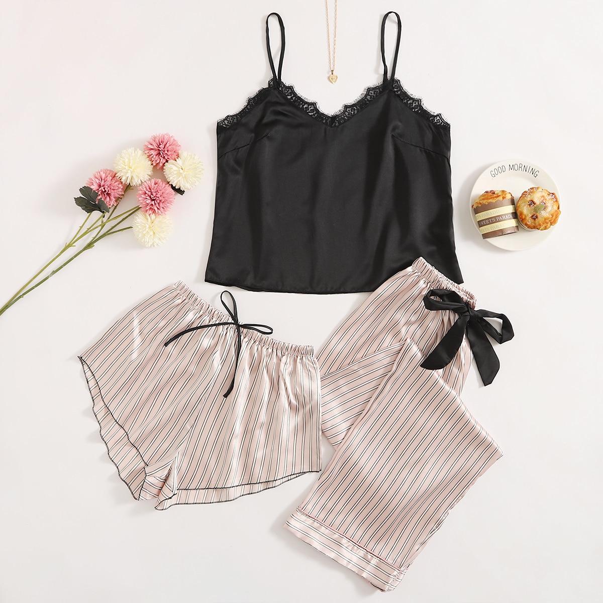 3шт атласная пижама на бретелях в полоску с кружевной отделкой