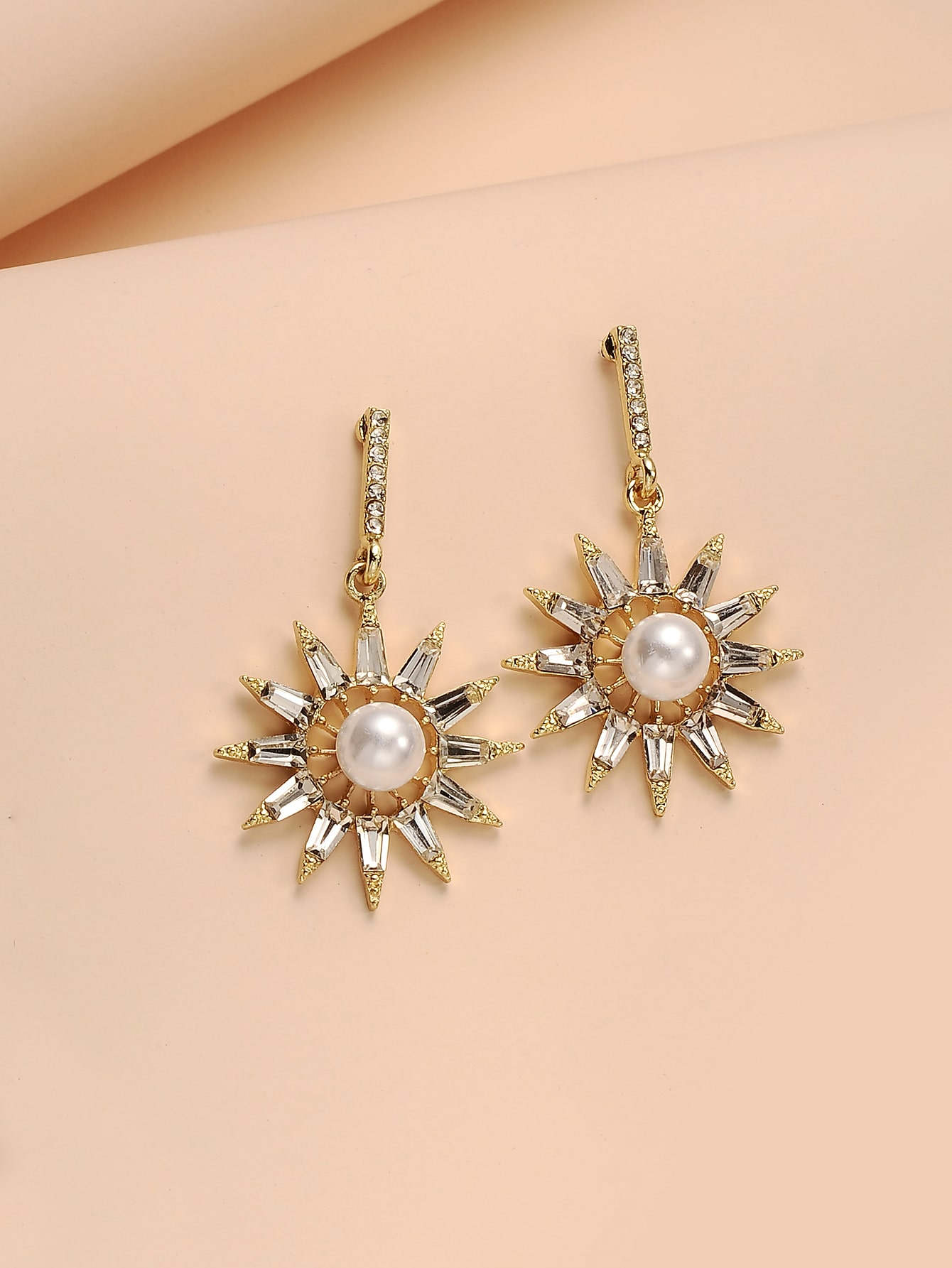 Rhinestone Faux Pearl Drop Earrings thumbnail