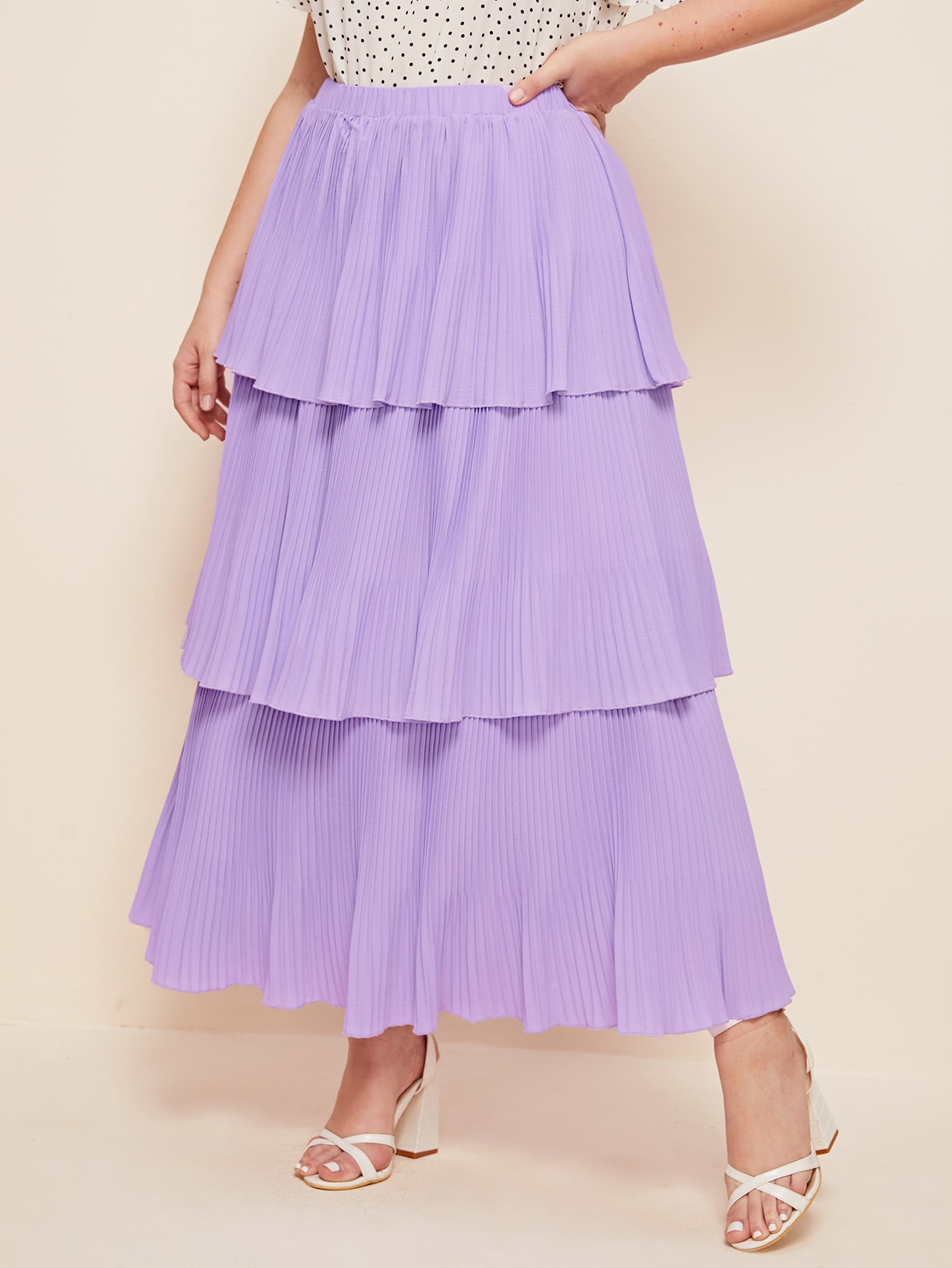 Plus Plisse Layered Skirt thumbnail
