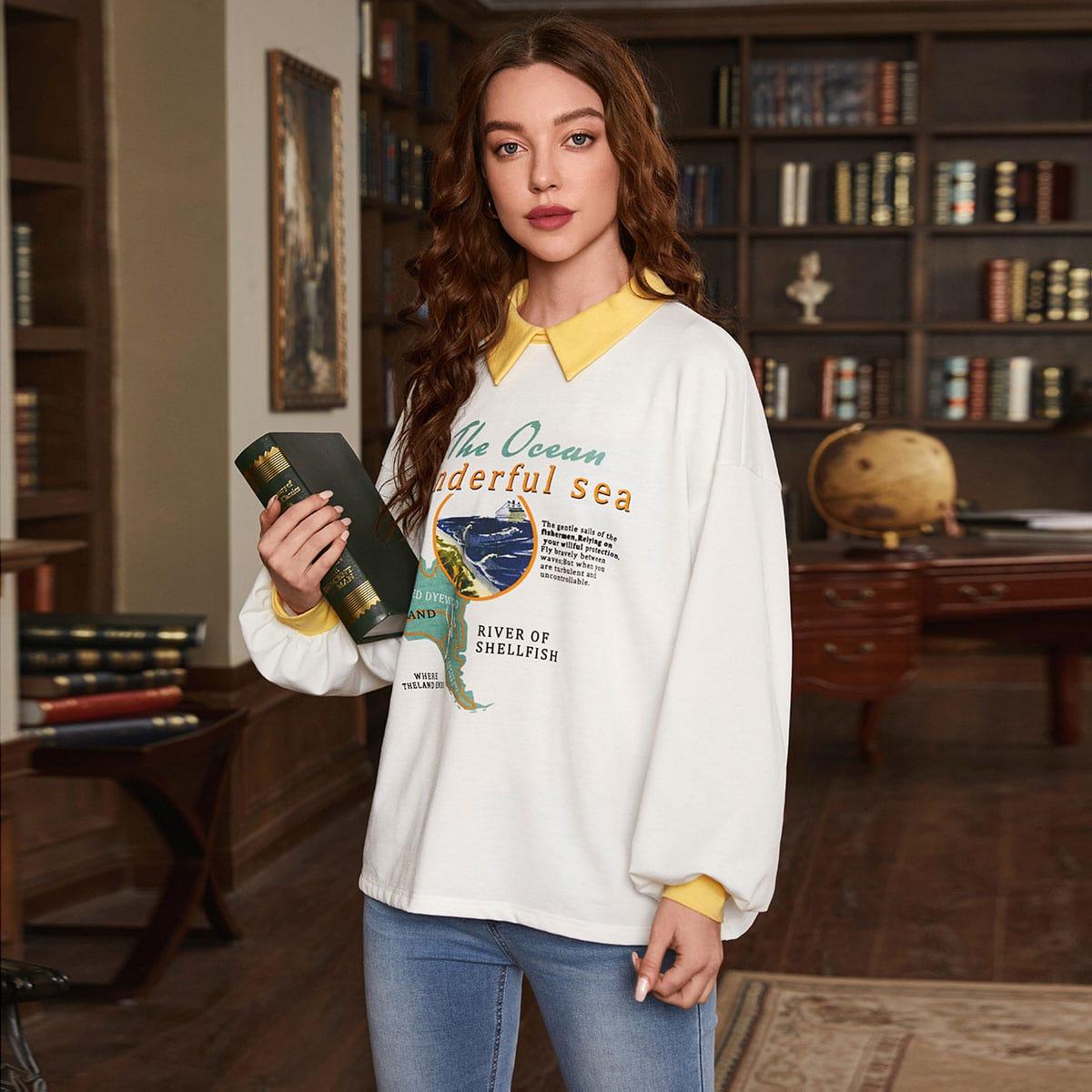 Пуловер с контрастным воротником и текстовым принтом