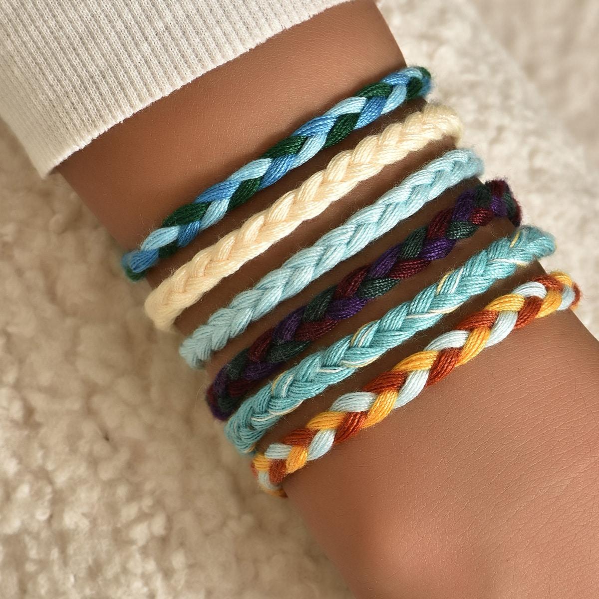 Разноцветный плетеный браслет 6шт
