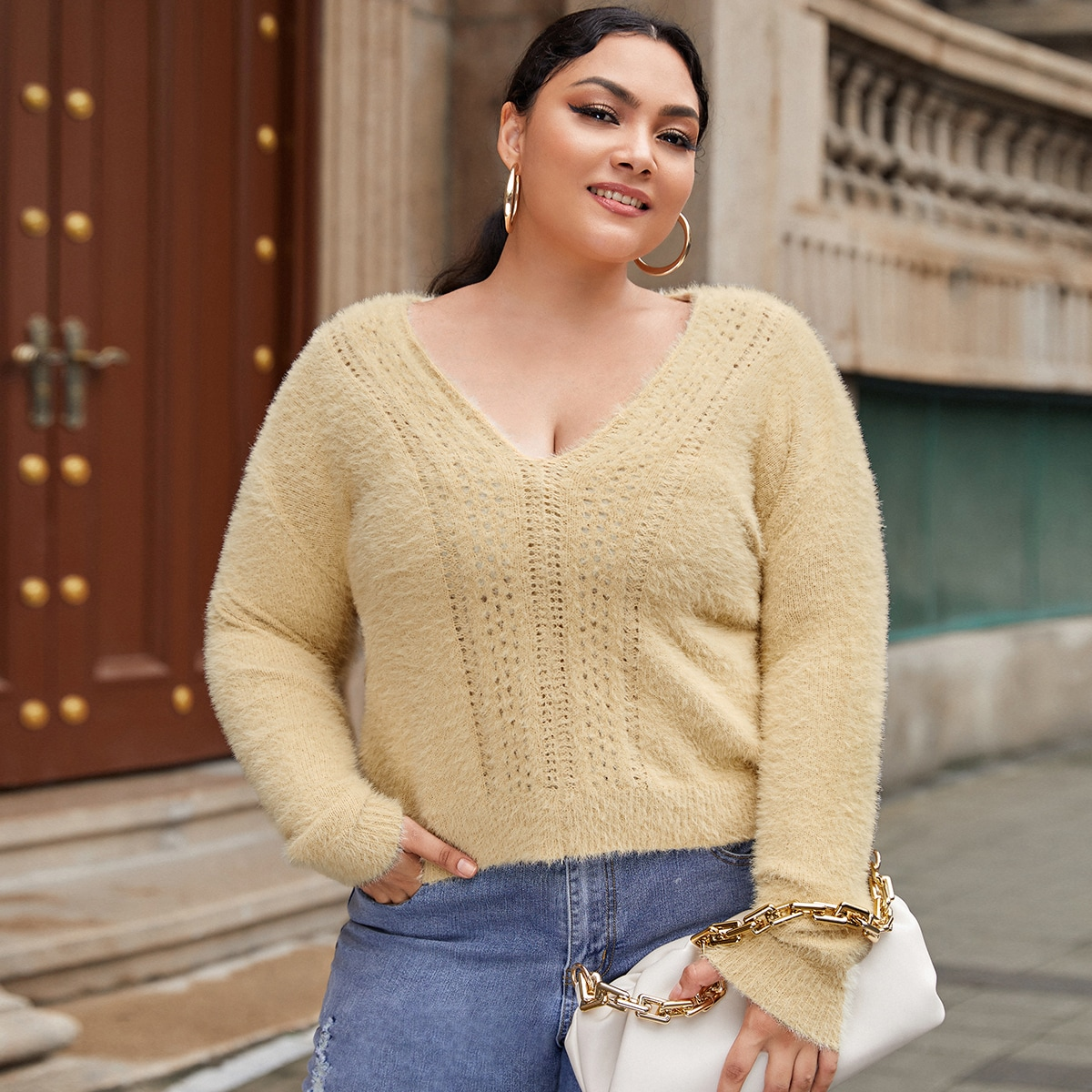 Одноцветный повседневный свитер размер плюс