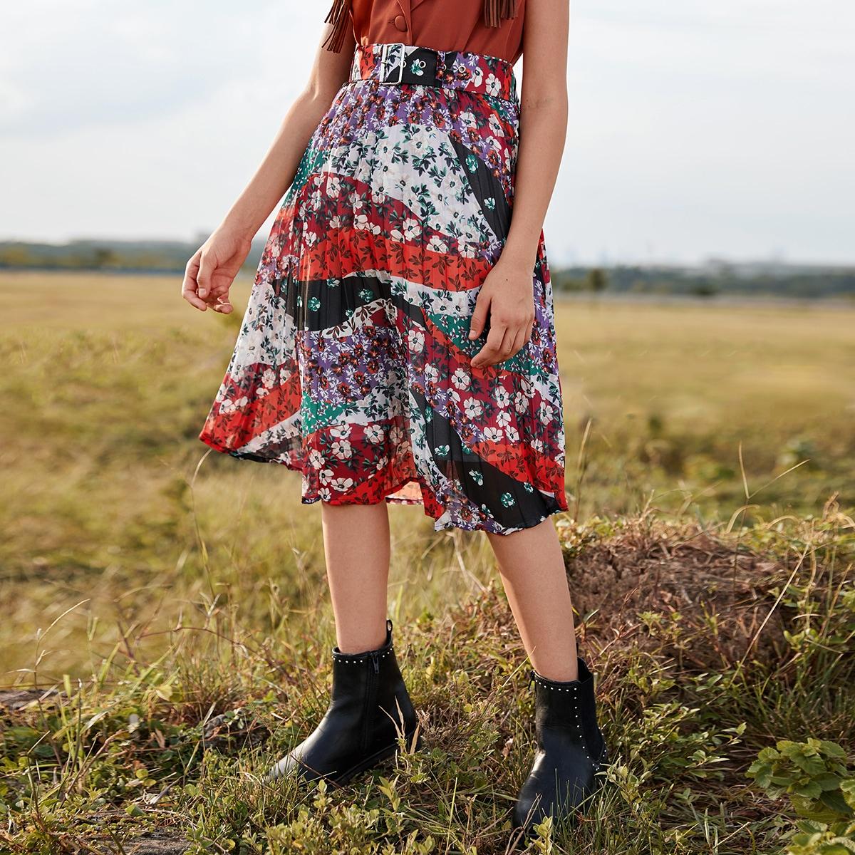 Плиссированная юбка с цветочным принтом для девочек