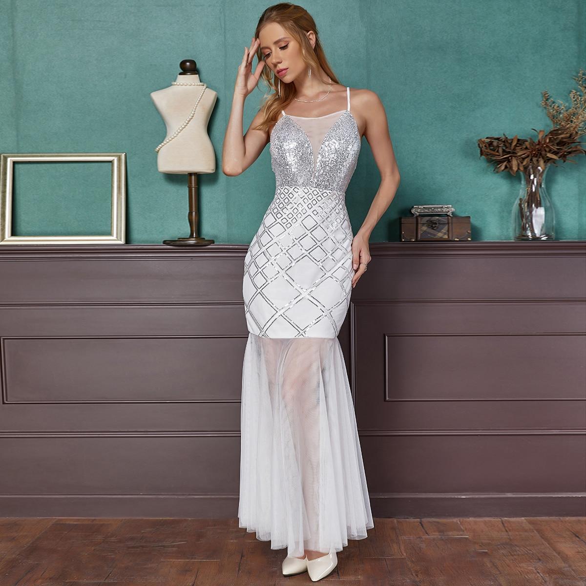 блестящее платье-русалка с сетчатой отделкой