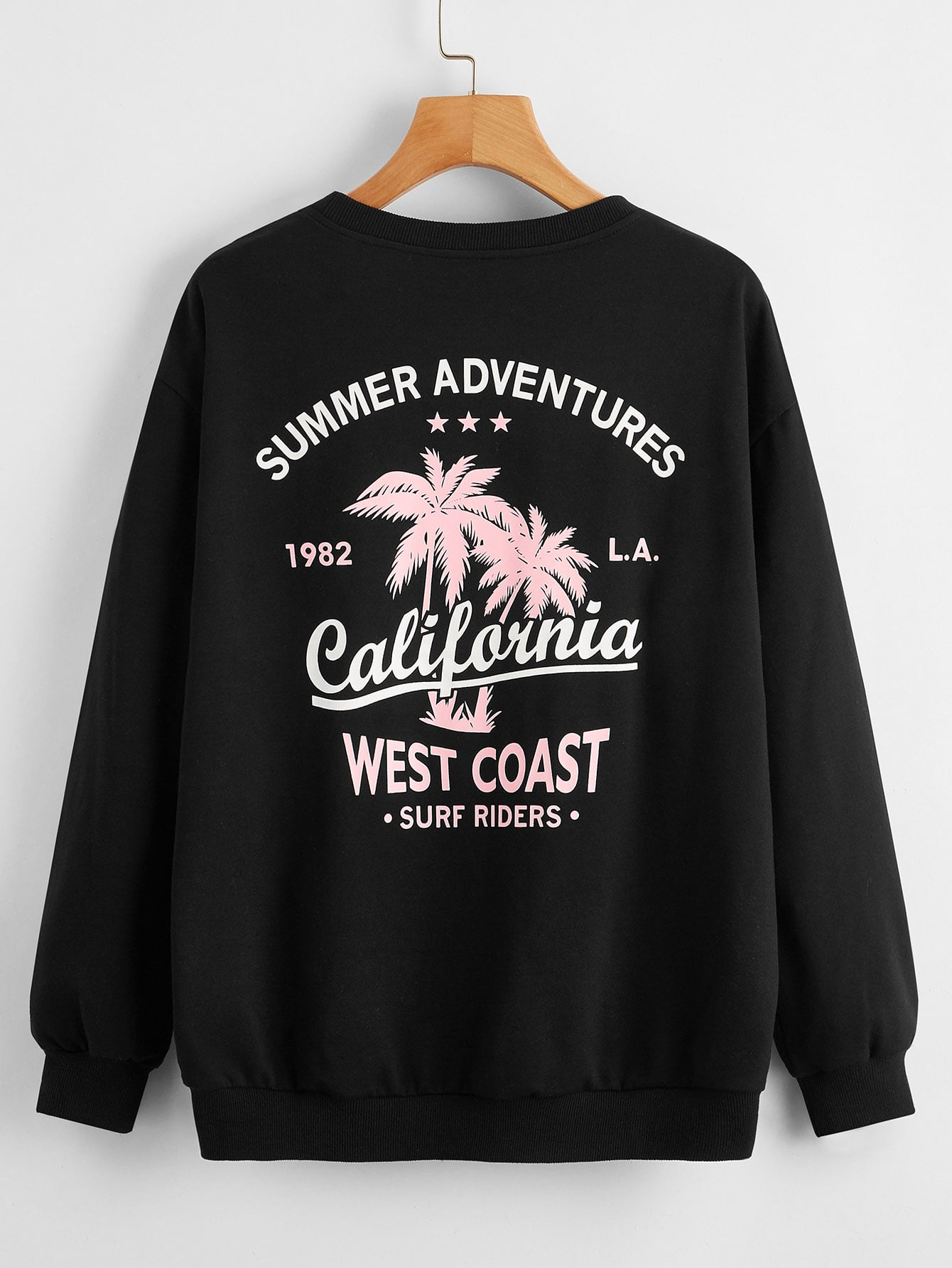 Letter and Tropical Print Drop Shoulder Pullover thumbnail