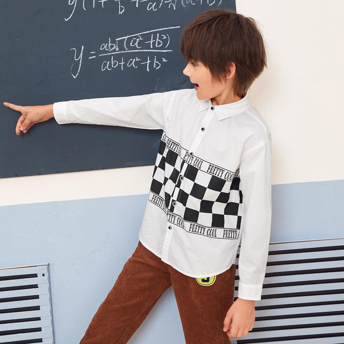 Рубашка с текстовым и клетчатым принтом для мальчиков