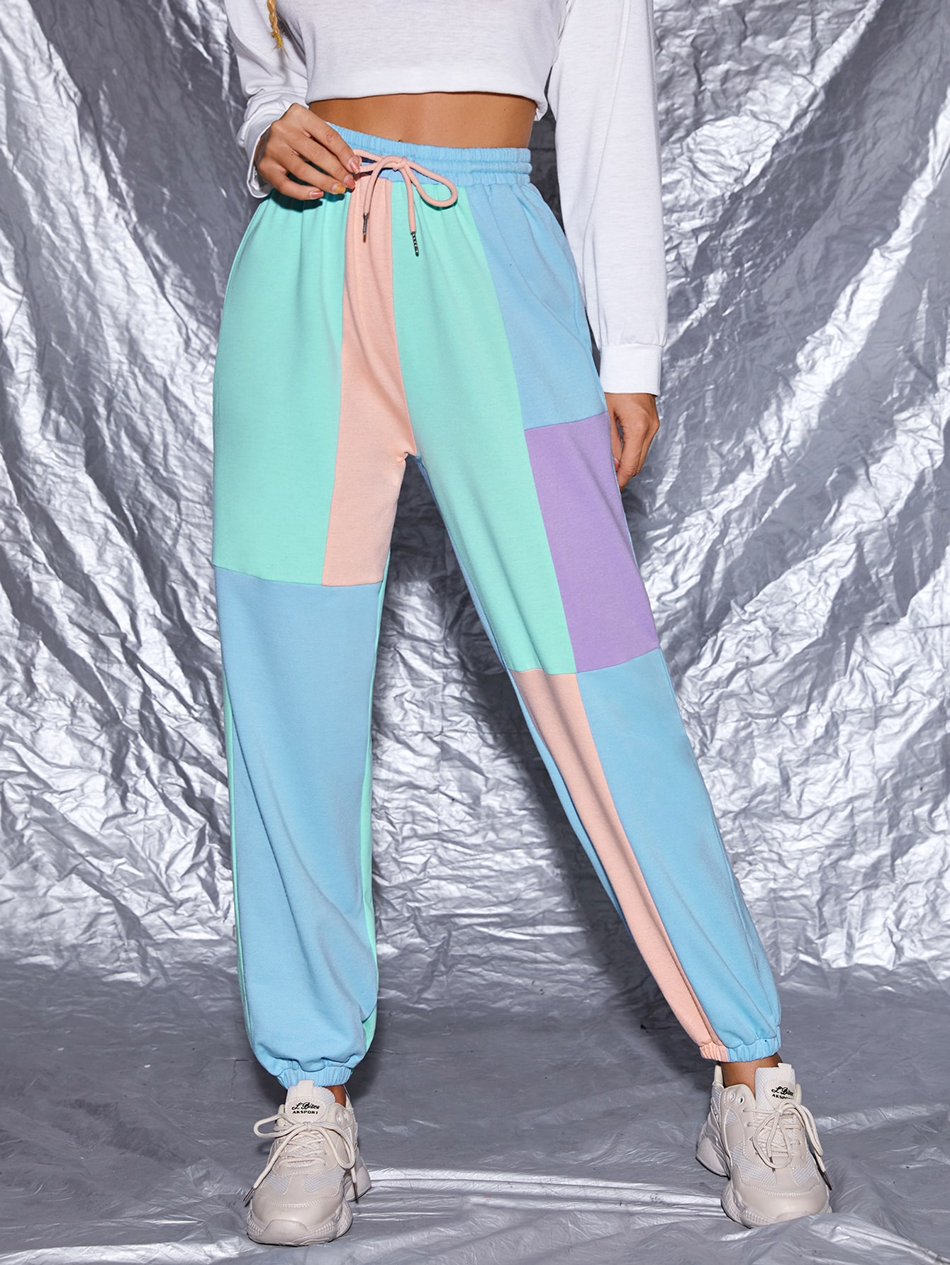 Drawstring Waist Colorblock Pants thumbnail