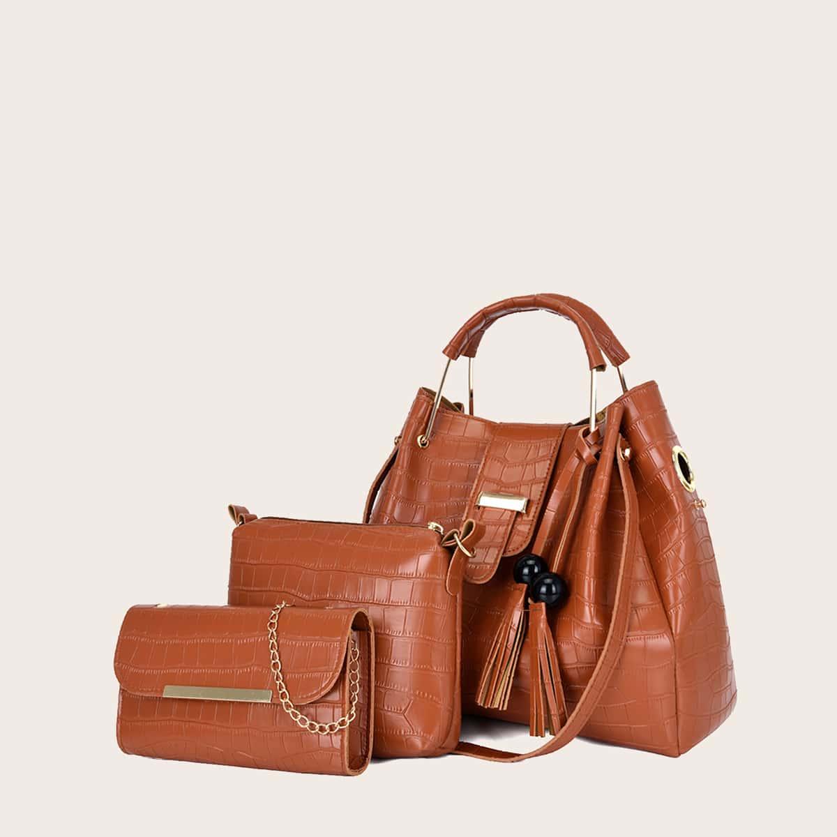 3шт комплект сумки-сэтчел с рельефным узором и бахромой
