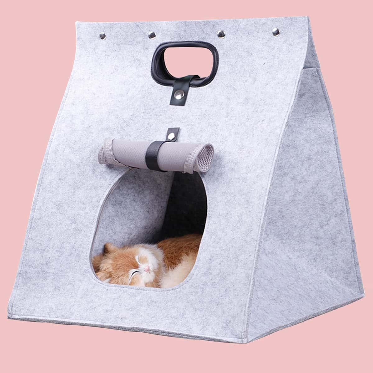 1 pièce Lit de chat en forme de sac de papier pliable lavable