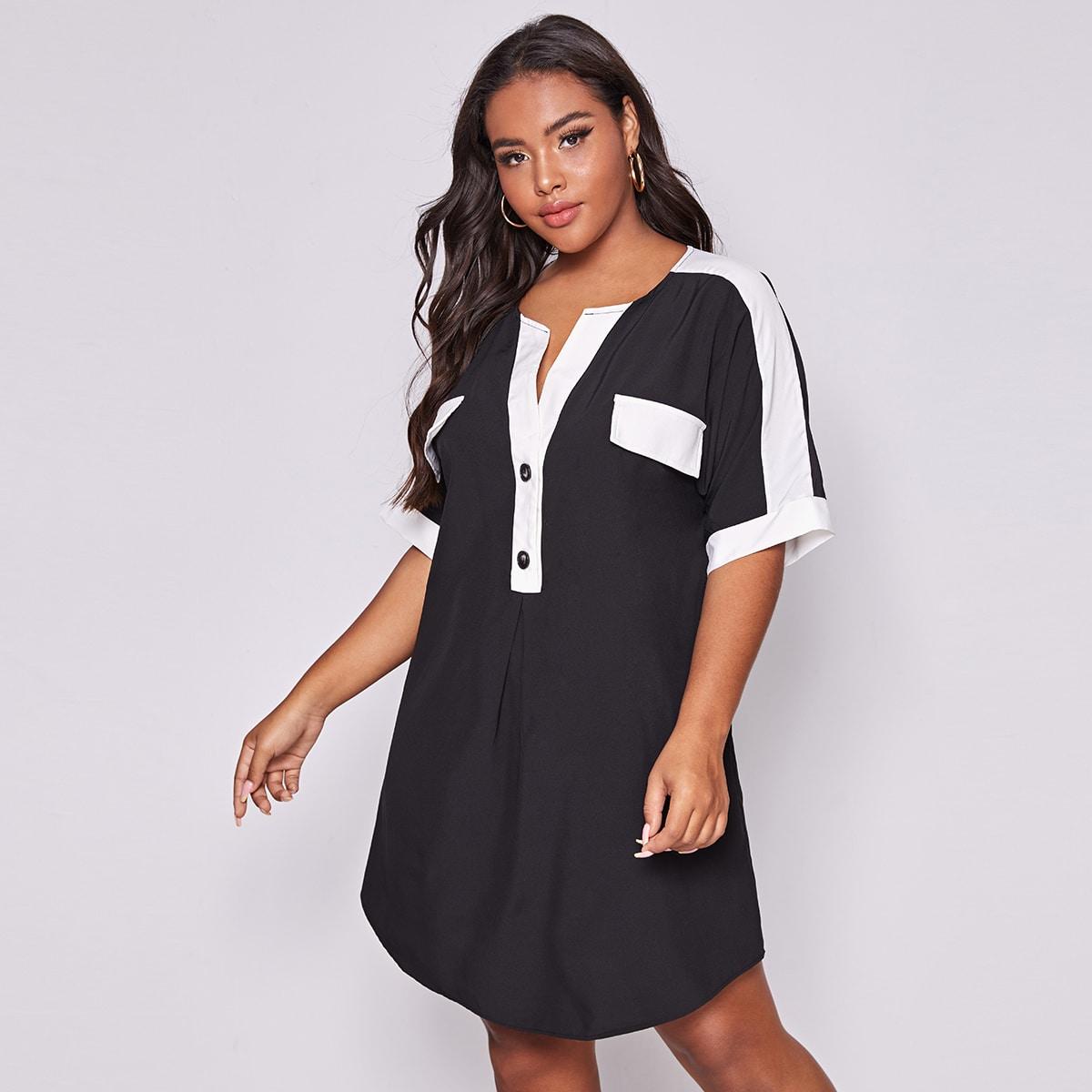 Контрастное платье на пуговицах размера плюс