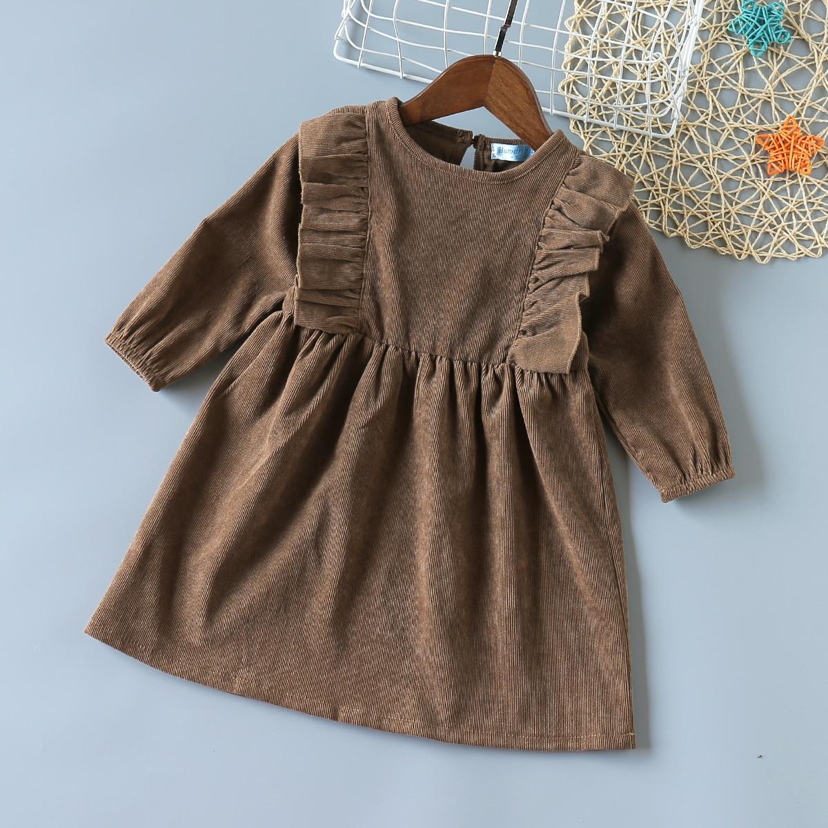 Вельветовое платье с оборкой для девочек