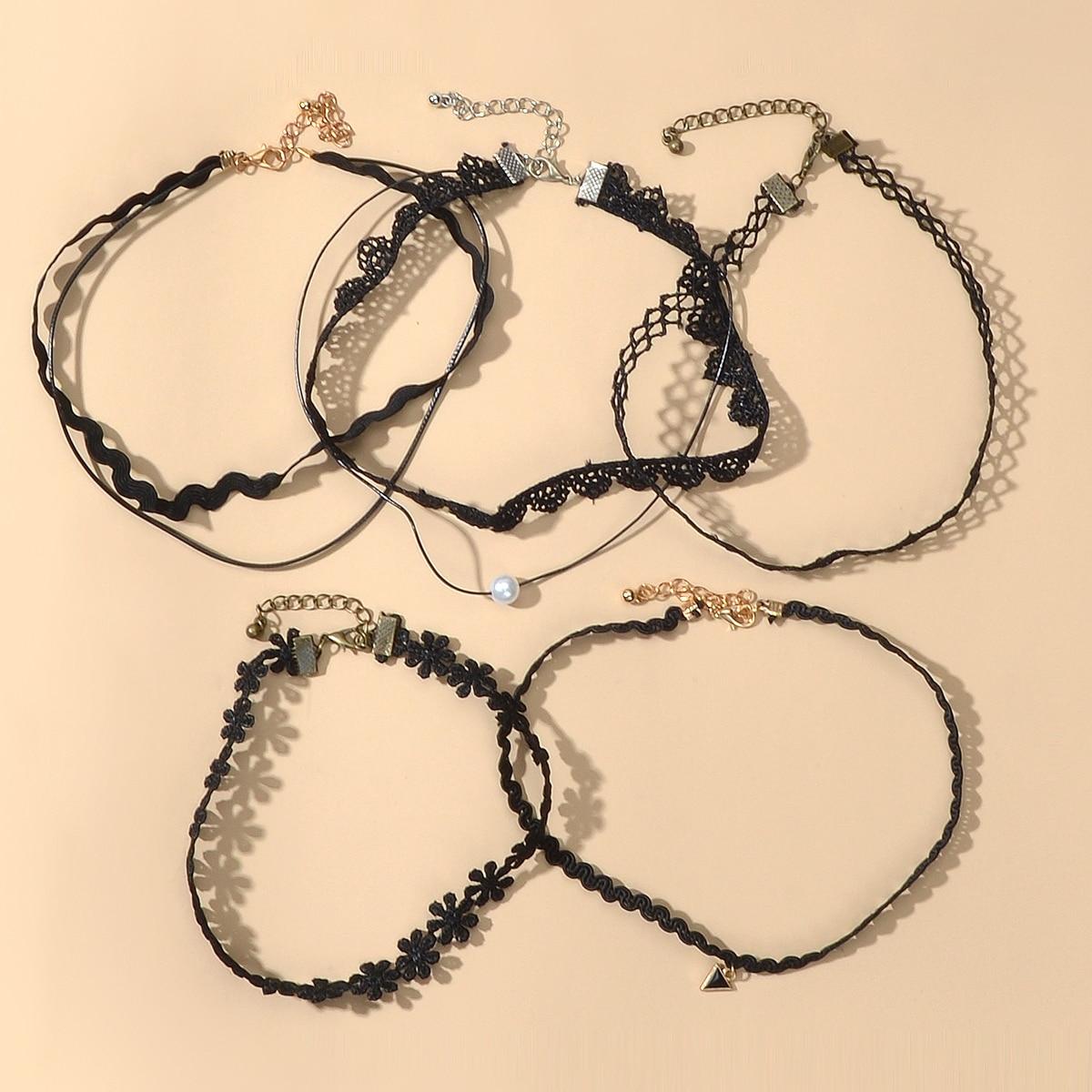 5шт кружевное ожерелье с искусственным жемчугом