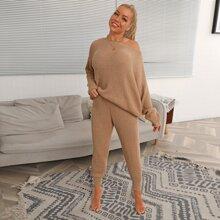 Drop Shoulder Rib-knit Sweater & Pants Set