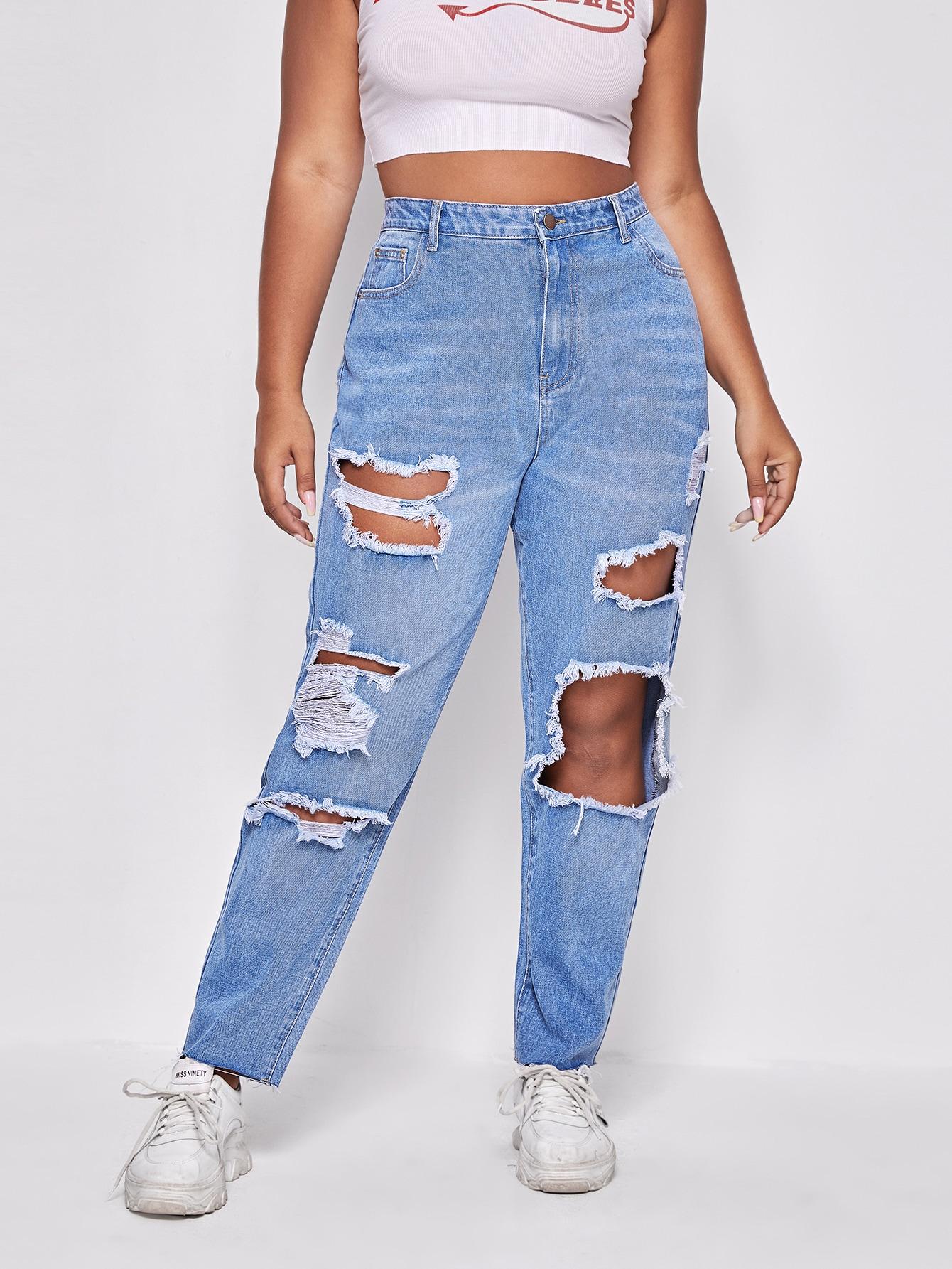 Plus Light Wash Ripped Detail Jeans thumbnail