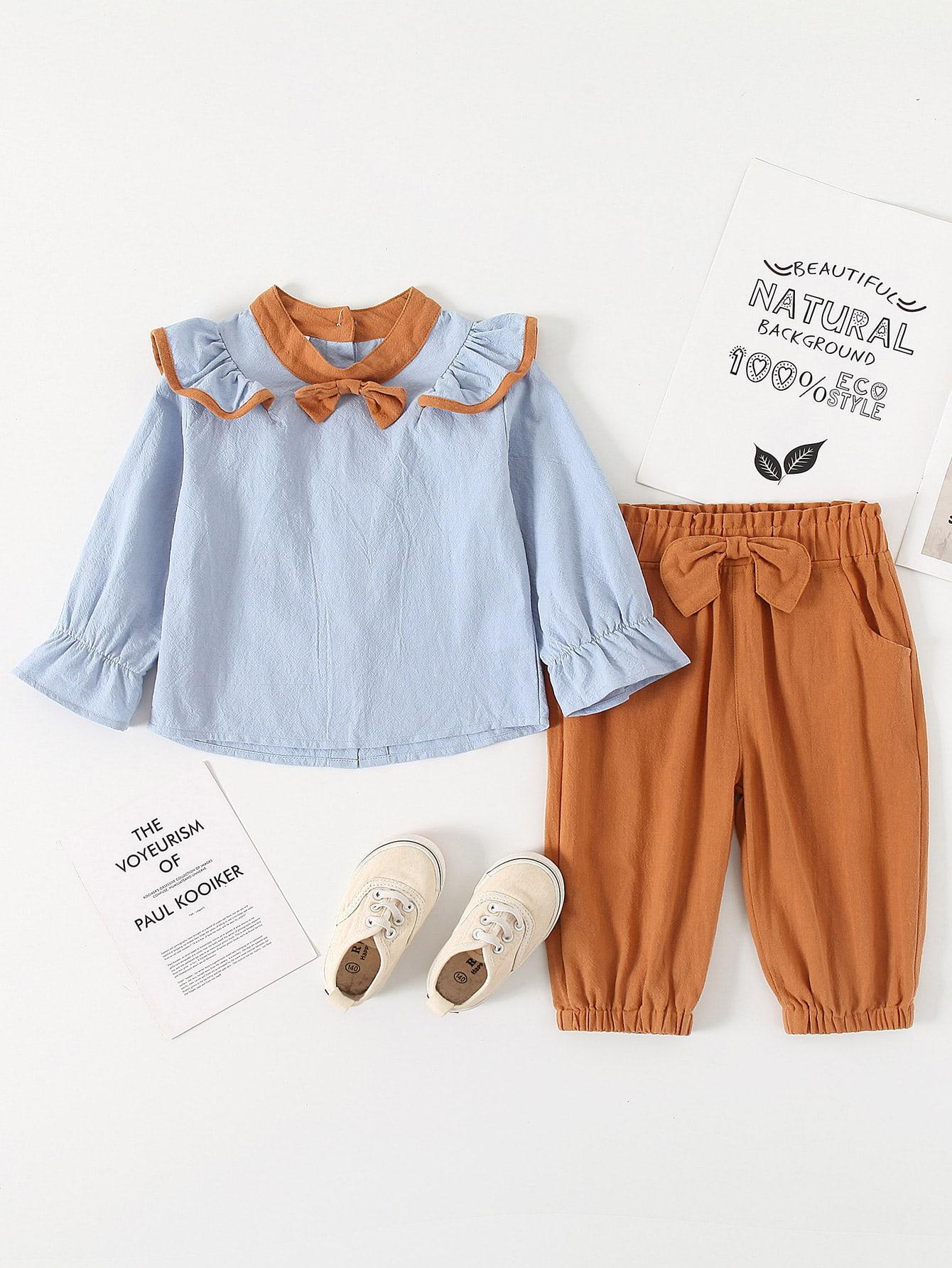 Oyolan Kids Girls Princess Bow Long Sleeve Ruffled T-Shirt School Uniforms Button Down Shirts Blouse Tops