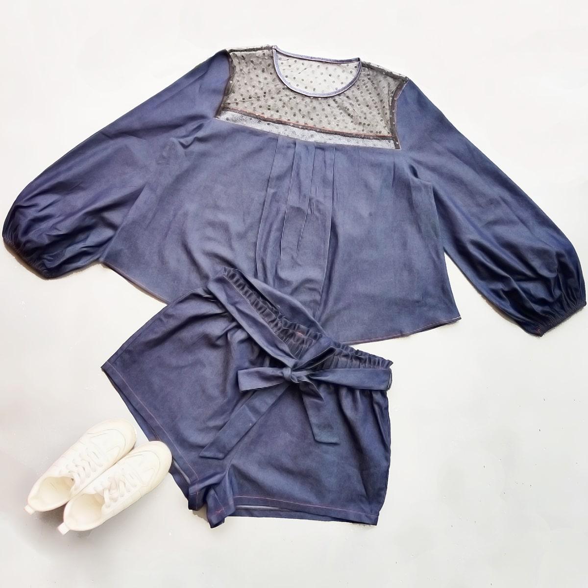 Средний синий умывания контрастная сетка в горошек повседневный джинсовый костюм размер плюс