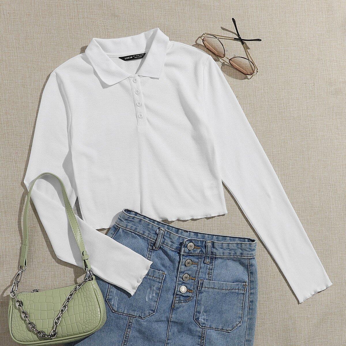 Трикотажная рубашка-поло с волнистым краем