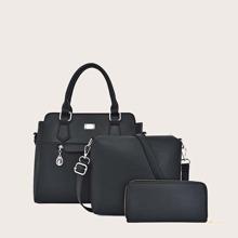 3pcs Double Handle Satchel Bag Set