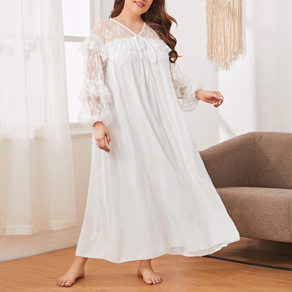 Ночная рубашка размера плюс с сетчатой отделкой, узлом и вышивкой