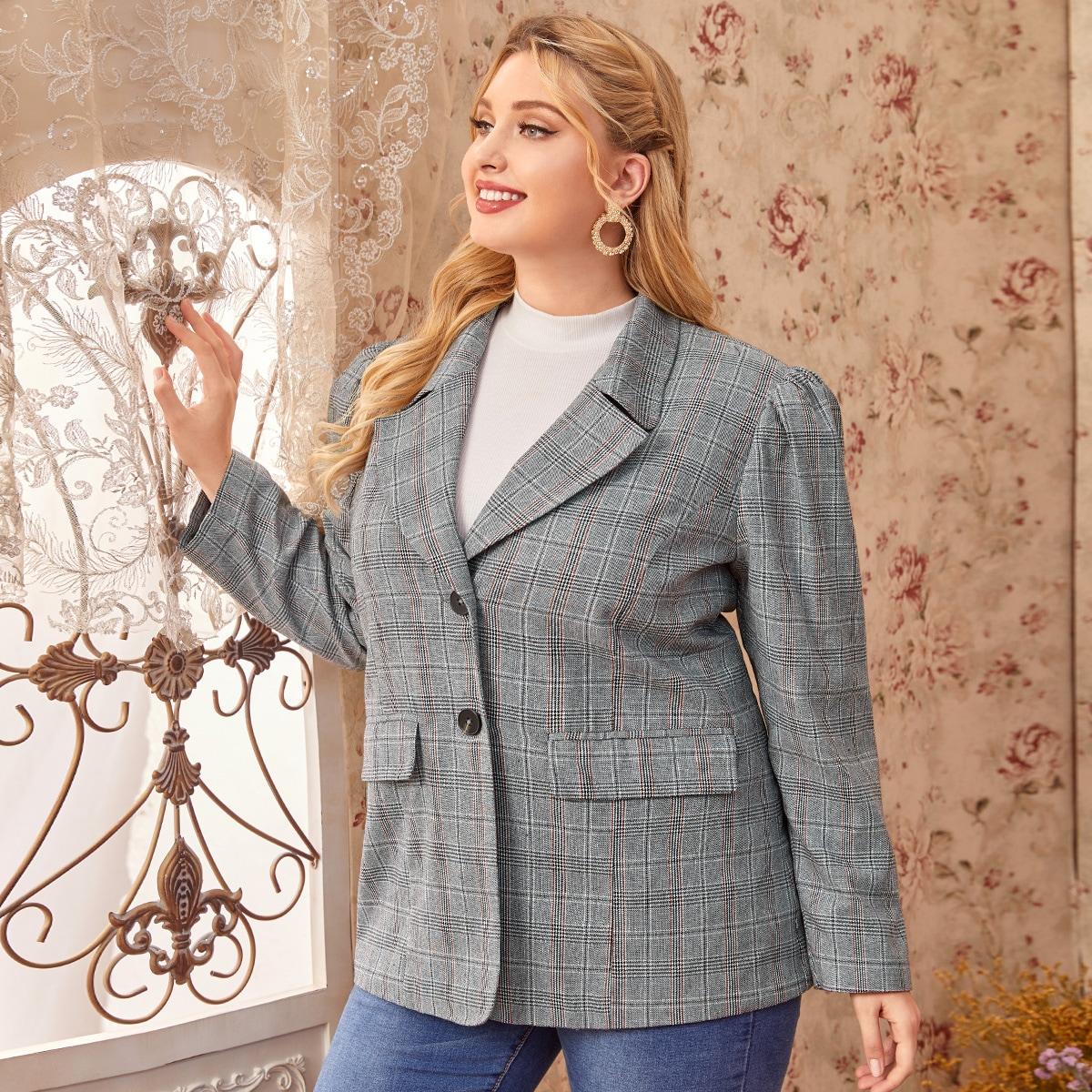 Пиджак размера плюс в клетку с пышным рукавом и лацканом