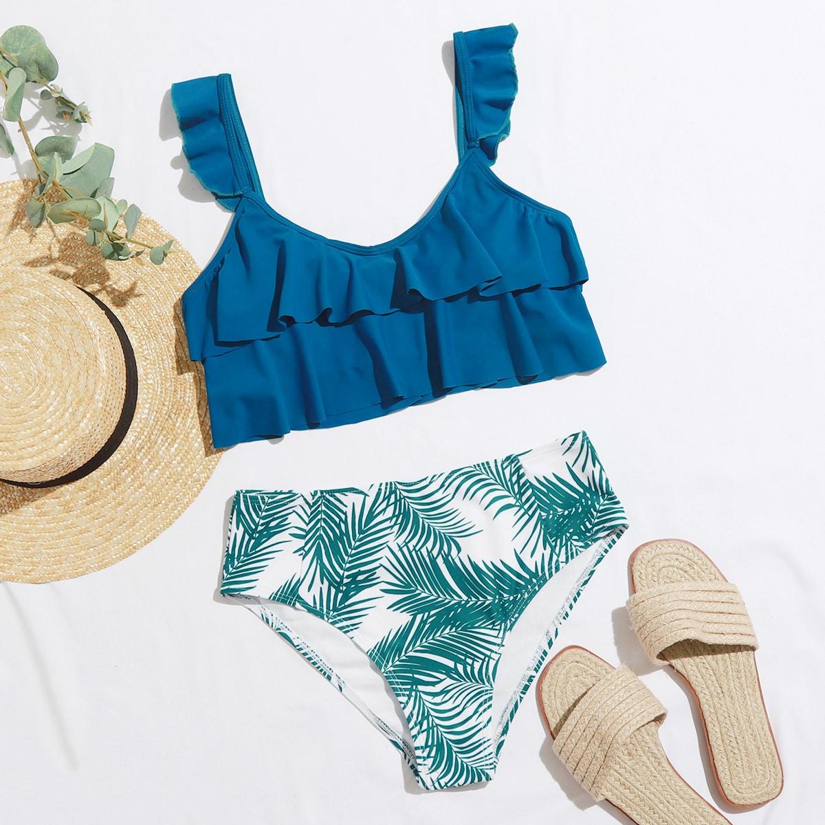 Palm Print Ruffle Bikini Swimsuit, SHEIN  - buy with discount