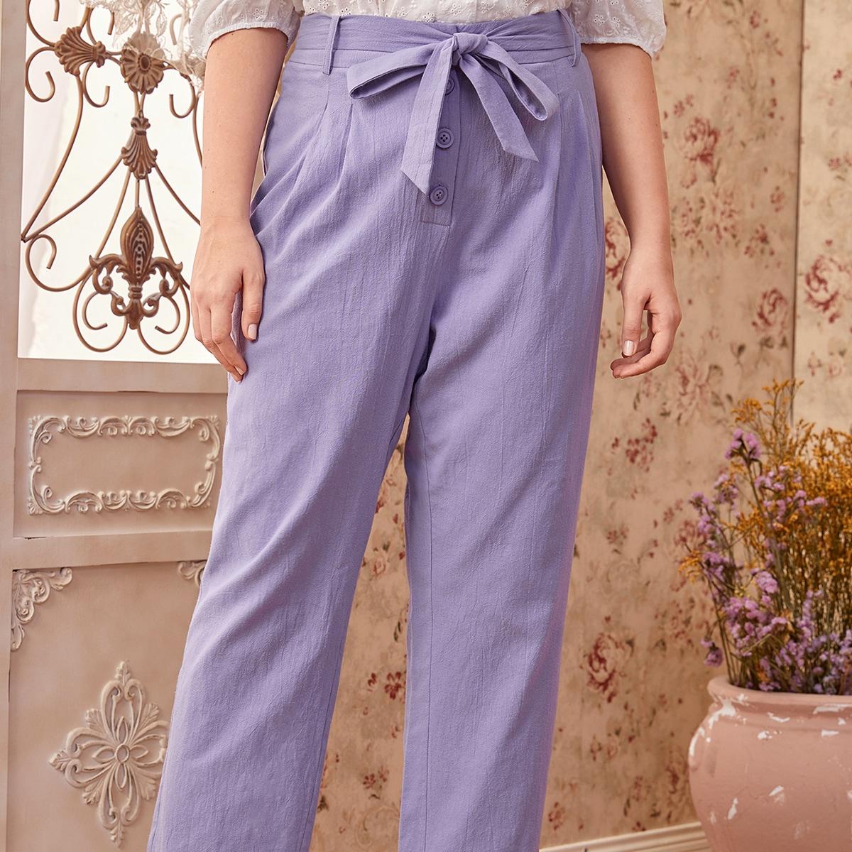 Однотонные брюки размера плюс с поясом